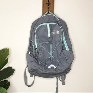 The North Face gray and mint jester backpack